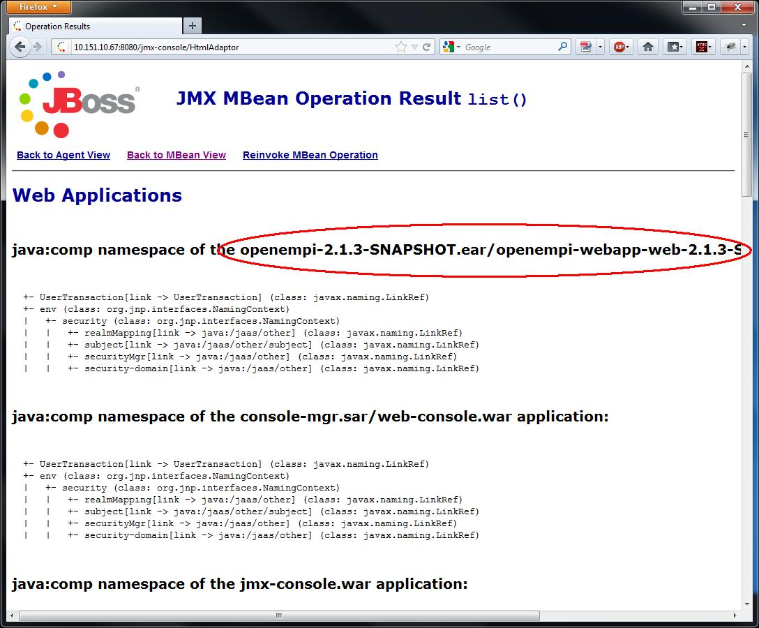 Checking deployment in JBoss JMX console