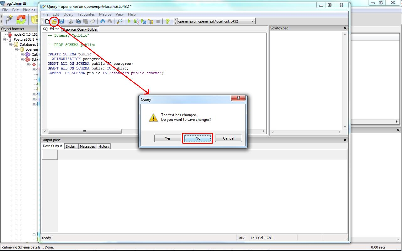 Deleting an existing database schema with pgAdmin III